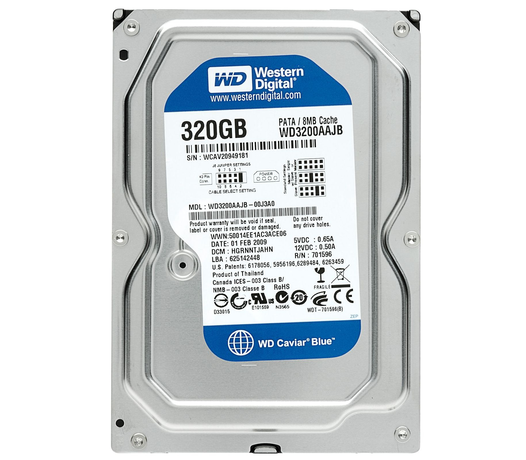 WD3200AAJB Western Digital Caviar 320GB 7 2K RPM 8MB Buffer 3 5Inches Form  Factor ATA-IDE Hard Drive  Refurbished